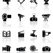 Stock Vector: Set of black photo-video icons