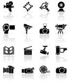 Sada černých ikon, foto video — Stock vektor