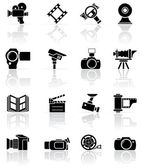 Set of black photo-video icons — Vector de stock