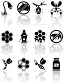 Bee icons — Stock Vector