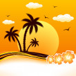 Royalty-Free Stock Vector Image: Tropical beach sunset