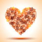 Heart shape from autumn leaves — Stock Vector