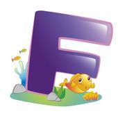 Animal alphabet F — Stock Vector