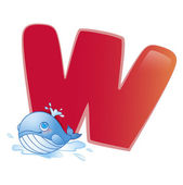Animal alphabet W — Stock Vector