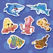 Stock Vector: Cute sea animal stickers 02