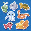 Cute sea animal stickers 03 — Stock Vector