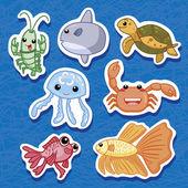 Cute sea animal stickers 03 — Stock Vector