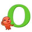 Stock Vector: Animal alphabet O