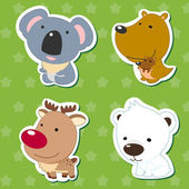 Cute animal stickers 05 — Stok Vektör