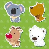 Cute dieren stickers 05 — Stockvector
