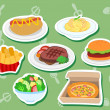 Cute food stickers01 — Stock Vector