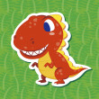 Stock Vector: Cute dinosaur sticker01