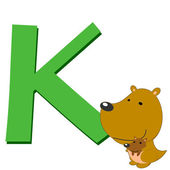 Alfabeto animal k — Vector de stock