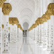 Beautiful white muslim churc interior, passageway — Stock Photo