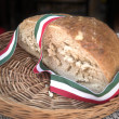 Bread with italian flag ribbon — Stock Photo