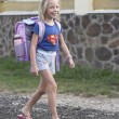 Little girl with a backpack — Stock Photo