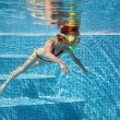 Stock Photo: Little girl under water in pool