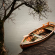 Little rowing boat ferry, in rainy weather - Stok fotoğraf