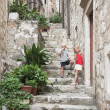 Narrow stairway in the old city, Dubrovnik — Stock Photo