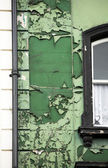 Elevación frontal de un antiguo edificio verde — Foto de Stock