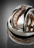Wedding ring close up, diamonds — ストック写真
