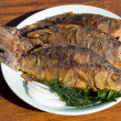 Fried fish crucian in plate — Stock Photo #10789951