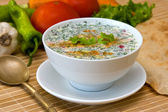 Russian cold soup - okroshka — Stock Photo