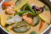 Thai soup made from coconut milk and seafood — Stock Photo