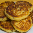 Sweet cheese pancakes on a plate — Stok fotoğraf