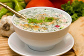 Russian cold soup - okroshka — Стоковое фото