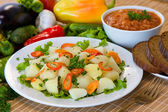 Boiled potatoes with vegetables — Stock Photo