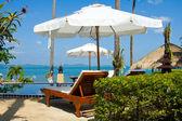 Bazén modré vody a palm stromy v blízkosti moře. — Stock fotografie