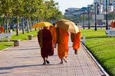 Cambodian monks walking on the street — Stock Photo