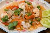 Thajská rybí pikantní salát — Stock fotografie