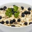 Bowl of muesli with blueberries — Stock Photo