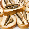 Sandwiches with sprats — Stock Photo