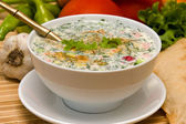 Russian cold soup - okroshka — Photo