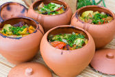 Meat baked with vegetables — Stock Photo