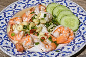 Shrimp with garlic and onions — Stock Photo