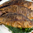 Stock Photo: Fried fish carp in plate