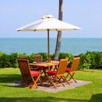 Table setting at beach restaurant — Stock Photo