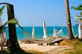 View of nice tropical empty sand beach with some trees and hammock . Thailand . — Stock Photo