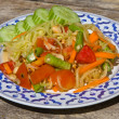 Papaya salad hot and spicy — Stock Photo