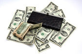 Leather woman purse and american money — Stock Photo