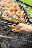 Hot dogs and grilled chicken wings — Stock Photo