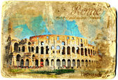 Colosseum vintage card postal — Stock Photo