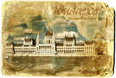 Budapest vintage card postal — Stock Photo