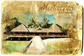 Maldives vintage card postal — Stock Photo