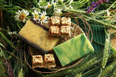Handmade soap with flowers — Stock Photo