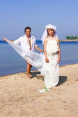 The bride and groom on the beach — Stock Photo